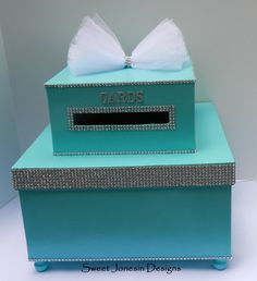 Tiffany Blue Wedding Card Box Bling Mesh Wrap by SweetJonesin, $80.00. This looks like DIY material. shoe boxes, paint, rhinestones, tulle and pretty letter stickers from the craft store, and a bit of hot glue.