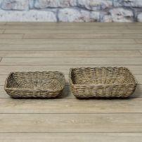 Bread basket set/2 in antique grey basket.