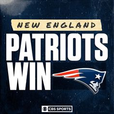 The New England Patriots improve to New England Patriots Football, Nfl Football, Go Pats, Cbs Sports, Eagles, Cowboys, Goal, Instagram