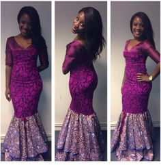 Check out This Aso Ebi Combination Gown Design - DeZango Fashion Zone