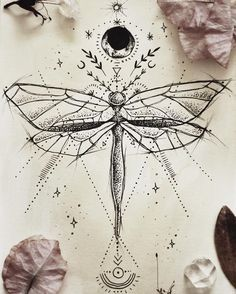 """807 Likes, 9 Comments - ⋆ Ḳ a ⑂ t i・ʟ ʊ ռ a ⋆ (@kateafaerie) on Instagram: """"Dragonfly tattoo design for a friend ♥︎"""""""