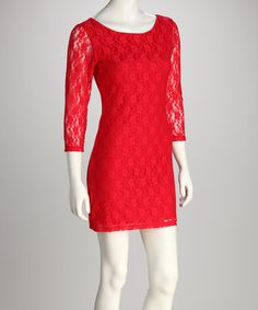 Love this Red Lace Scoop Neck Dress on #zulily! #zulilyfinds