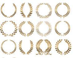 gold wreaths clip art wedding