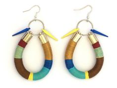 Funky and colorful rope statement dangle earrings with colorful acrylic spikes in nautical colors- blue and yellow. These rope earrings are hand