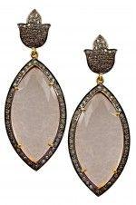 Tribebyamrapali-14K Gold Silver Diamond Rose Quartz Victorian Leaf Earrings