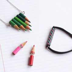 Have some not so great coloring pencils from last school year? Turn them intro stylish jewelry. It's surprisingly easy