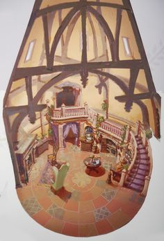 "rapunzelroleplay: ""findingcorona: "" The best image I've seen laying out the floor plan of the tower. I think the window is next to the fireplace, and the ""door"" is next to the stairs, with the bane-of-Flynn dresser in between. Rapunzel and Mother..."