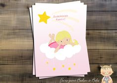Sleepover Party little Cards  Digital by Fairepartbedonabebe