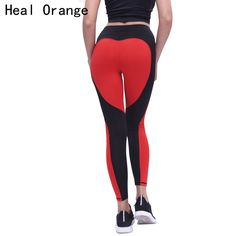 HEAL ORANGE Sport Leggings Love Heart Patchwork Fitness Push Up Yoga Pants Leggins Sports Clothing Running Tights Gym Sportswear #Affiliate