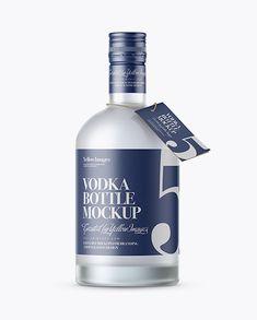 Frosted Vodka Bottle with Shrink Band Mockup