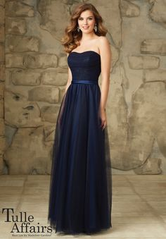 Bridesmaids Dress 116 - Tulle Affairs Lace and Tulle Satin Belt. Zipper Back. Shown in Navy. Available in All Tulle Colors.