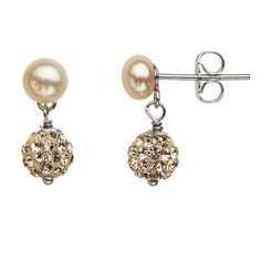 Honora Girls Sterling Silver Champagne Button Fresh Water Cultured Pearl & Crystal Earrings