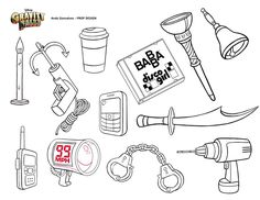 """Gravity Falls Prop Design - Andy Gonsalves.com - Various Items Including """"Disco Girl"""" by BABBA and the Ever-Helpful Grappling Hook!"""