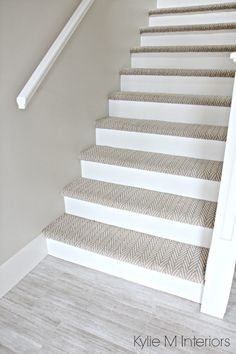 Stairs with carpet herringbone treads and painted white risers, looks like a runner. Benjamin Moore Edgecomb Gray on stairwell wall. Kylie M Interiors E-Design carpet The 3 Best NOT BORING Paint Colours to Brighten Up a Dark Hallway Basement Carpet, Basement Stairs, Basement Ideas, Hallway Ideas, Stairs Flooring, Basement Bathroom, Basement Furniture, Modern Basement, Basement Designs