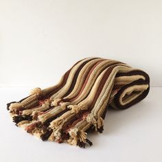Vintage Crochet Blanket in Warm Earth Tones, Knitted Coverlet, Knitted... ($55) ❤ liked on Polyvore featuring home, bed & bath, bedding, blankets, crochet afghan blanket, striped bed linen, striped blankets, striped bedding and striped crochet afghan