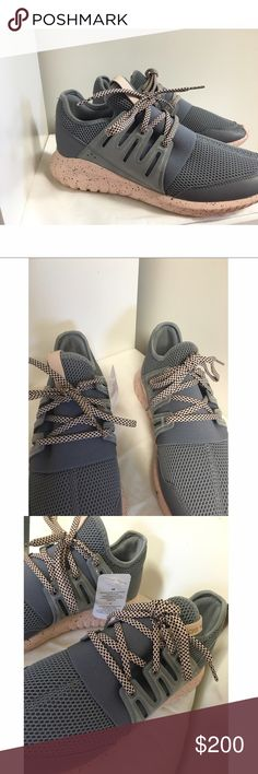 Adidas originals tubular radials Brand new. Can't return since they're custom. Size 8.5. They're super comfy and sleek so I'm really sad they don't fit :(  . Color is Gray and blush. Can fit a size 9. Cheaper on EBAY ($135) just search adidas originals custom tubular radials 8.5. Also listed for cheaper on my Ⓜ️ercari :) adidas Shoes Athletic Shoes
