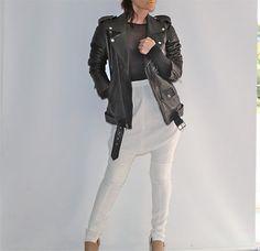 Authentic-BLK-DNM-Black-Leather-Moto-Motorcycle-Biker-Jacket-Size-M