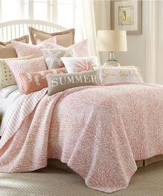Coral Reef Quilt Set and gorgeous coastal pillows for beach house decor! Summer seahorses, starfish & coral.