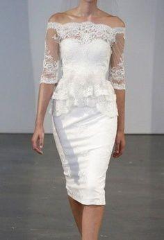 Slenderizing Wedding Dresses Over 50 | ... lace 1950s 1283 short wedding dresses tea length below knees