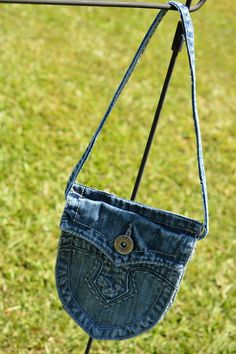 Upcycle Blue Jean Pocket Tote Tiny Tote Little Girl