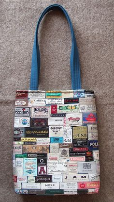 Love this bag made of labels collected by Solveig