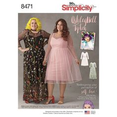 Simplicity Pattern Ashley Nell Tipton Womens Dresses Plus Size or Knee Ankle Length Sheer Overlay Dress Pattern Plus Size Sewing Patterns, Simplicity Sewing Patterns, Clothing Patterns, Dress Patterns, Plus Size Dresses, Plus Size Outfits, Sheer Overlay Dress, Full Figure Fashion, Fabulous Dresses