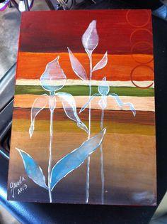Flores caja pintada a mano