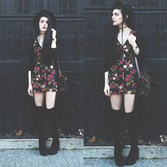 Holynights Claudia - Sheinside Long Sheer Cardigan, River Island Over The Knee Boots, Motel Dress - Roses over black