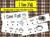 "Fall strip book for practicing sight words ""I"", ""see"", and ""a"""