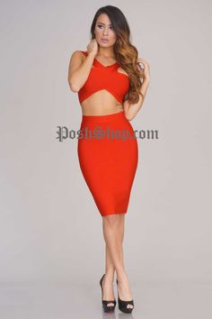 Chantal Bandage Two Piece - Red - New Arrivals