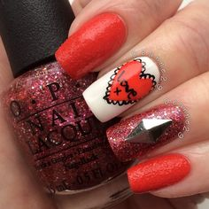 Minus the huge diamond. VALENTINE by deanne29 #nail #nails #nailart