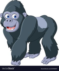 Gorilla Coloring Pages For Kids. A funny gorilla has decided to star in this page. Jungle Animals, Baby Animals, Cute Animals, Cartoon Cartoon, Animal Coloring Pages, Coloring Pages For Kids, Jungle Theme Classroom, Inkscape Tutorials, Baby Animal Drawings