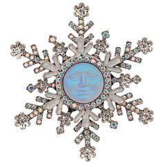 Seaview Moon Snowflake Pin/Enhancer (Antique Silvertone)