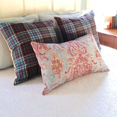 Anderson Tartan & Blue Damask throw cushions looking completely at home in this farmhouse bedroom!  Go on, mix it up! Retro Fabric, Boho Look, Throw Cushions, Damask, Make Your Own, Tartan, Pillow Covers, Upcycle, My Etsy Shop