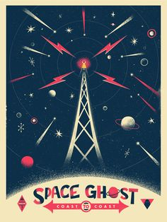 """Space Ghost Cosmic Broadcasting, by Chris DeLorenzo. Designed for Gallery 1988's Adult Swim tribute show. Available as an 18x24"""" three-color screenprint for just $40."""