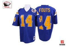 (Authentic Mitchell and Ness Men s Dan Fouts Electric Blue Patch Jersey)  San Diego Chargers Alternate NFL Throwback Easy Returns. 83c983b96
