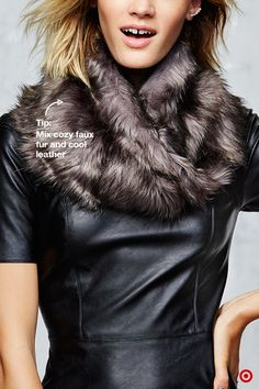 This statement piece is almost impossible not to love—it's easy to incorporate into every outfit option you have this winter. If you want to dress it up for a chic holiday party, pair the cozy faux fur with a cool leather dress. The combo works because of the contrast—in color and texture.