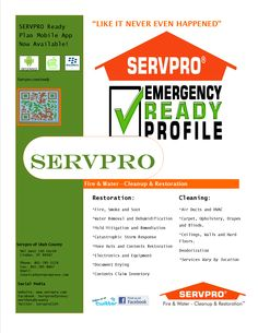 I love Servpro! Downloaded the app today and feel great knowing that im prepared for an emergency!!