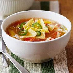 MyPlate-Inspired: Comfort Food Made Light | Diabetic Living Online CHICKEN TORTILLA SOUP. I LOVE EATING THIS IN THE WINTER!!