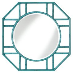 Bamboo Bliss Wall Mirror - 38W x 41H in. - A round mirror in a cutout octagonal frame makes the Bamboo Bliss Wall Mirror - 38W x 41H in. a bold statement for practically any wall. Its bamboo fr...
