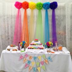 Rainbow birthday - First Birthday Party Decor - meadoria Trolls Birthday Party, Troll Party, Rainbow Birthday Party, Unicorn Birthday Parties, Unicorn Party, Birthday Fun, First Birthday Parties, First Birthdays, Birthday Table