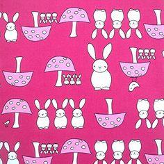 Higgs & Higgs - Rabbits & Toadstools - Cerise - Cotton Fabric Patchwork Sewing Dress Making, http://www.amazon.co.uk/dp/B01BFFZV6Q/ref=cm_sw_r_pi_awdl_RzBAxb1M3K027