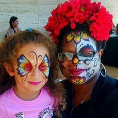 Fiesta de la Familia Butterfly and Sugar Skull face painting fun by FunnyCheeksTJ of Funny Cheeks Dallas Face Painter