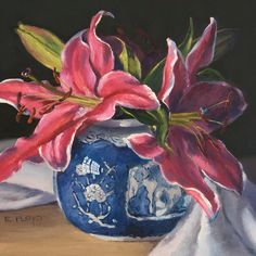 Lis Stargazer dans une peinture de nature morte de Ginger Jar - art giclée par Elizabeth Floyd