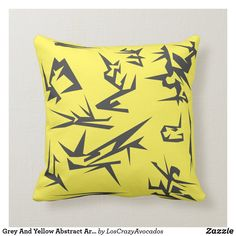 Grey And Yellow Abstract Art Cushion Pillow