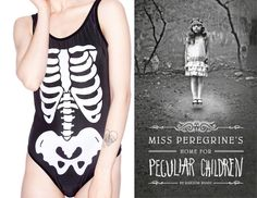 "The book: Miss Peregrine's Home for Peculiar Children by Ransom Riggs  The first sentence: ""I had just come to accept that my life would be ordinary when extraordinary things began to happen.""  The cover designer: Doogie Horner.   The bathing suit: Skeleton One Piece by WIldfox Couture at Dolls Kill. $158."