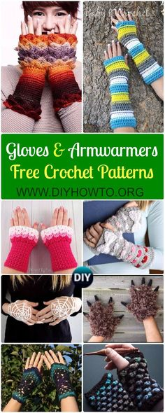 Crochet Fingerless Gloves Wrist Warmer Free Patterns: Crochet Mitts, Gloves, Armwarmers, Handwarmers, Hand Cuffs Cold Weather Gift ideas via @diyhowto