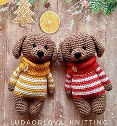 Crochet puppy in winter sweater - free amigurumi dog pattern // Téli pulcsis amigurumi kutyus - ingyenes horgolásminta // Mindy - craft tutorial collection // Crochet Animals, Crochet Toys, Free Crochet, Crochet Dog Patterns, Amigurumi Patterns, Little Unicorn, Crochet Instructions, Amigurumi Doll, Amigurumi Minta
