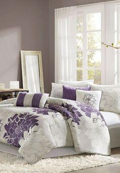 Gray & Purple Elizabeth Comforter Set
