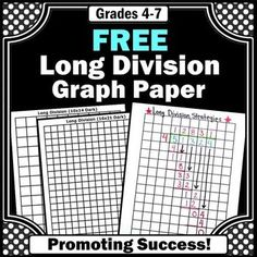 You will receive printable long division graph paper and a worksheet that models this or grade math problem solving strategy. This method also works well for special education students. Teaching Division, Math Division, Teaching Math, Maths, Long Division Game, Math Games, Division Anchor Chart, Multiplication Games, Number Activities